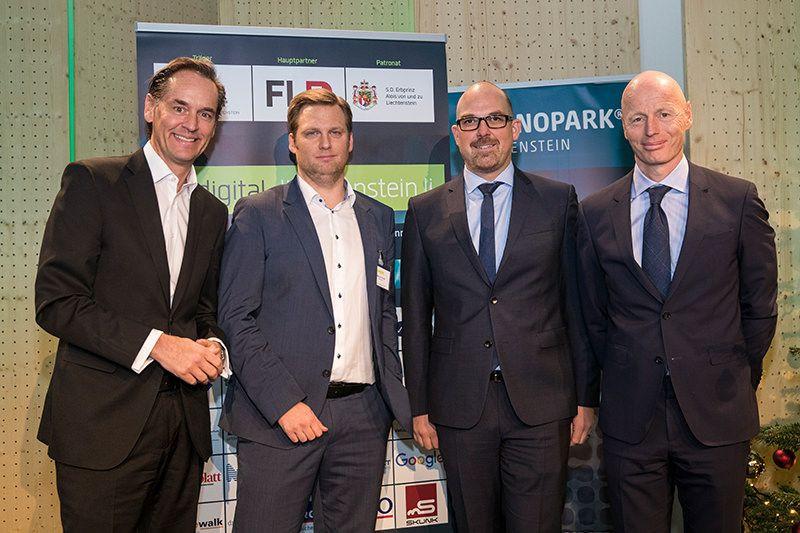 Patrick Warnking (Google Schweiz), Markus Goop (digital-liechtenstein.li), Daniel Risch (Regierungschef-Stellvertreter Liechtenstein), Marc Walder (Digital Switzerland)